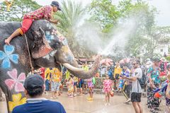 Elephant and peoples are splashing water in Songkran festival royalty free stock photos