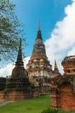 Ayuthaya, Thailand - 13. Februar 2014: Schließen Sie oben von Wat Yai Chaimongkhon Stockfotografie