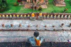Ayuthaya, Thailand - 13 Februari 2014: Hoogste mening van Wat Yai Chaimongkhon Royalty-vrije Stock Afbeeldingen