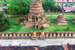 Ayuthaya, Thailand - 13 Februari 2014: Hoogste mening van Wat Yai Chaimongkhon Royalty-vrije Stock Foto