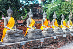 Ayuthaya Thailand - 13 Februari 2014: Rader av den buddha statyn Wat Yai Chaimongkhon Arkivfoto
