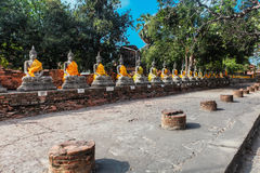 Ayuthaya Thailand - 13 Februari 2014: Rader av den buddha statyn Wat Yai Chaimongkhon Fotografering för Bildbyråer