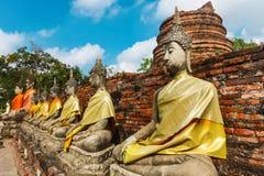 Ayuthaya Thailand - 13 Februari 2014: Rader av den buddha statyn Wat Yai Chaimongkhon, Royaltyfri Bild