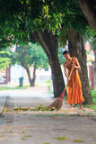 AYUTHAYA THAILAND : MARCH 28 : thai buddhist monk daily cleaning Royalty Free Stock Images