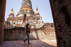 Ayuthaya thailand - september14,2017 : unidentified tourist walk royalty free stock images