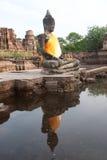 ayuttayaen översvämmar det mega tempelet thailand Arkivbild