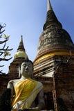 ayutthaia坐微笑的菩萨废墟 免版税图库摄影