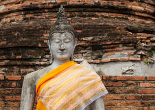 Ayutthay Historical Park in Thailand. Buddha front of pagoda at the ancient city Ayuttay,Thailand Stock Photography
