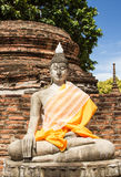 Ayutthay Historical Park in Thailand. Buddha front of pagoda at the ancient city Ayuttay,Thailand Stock Photo