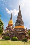ayutthaya塔废墟 图库摄影