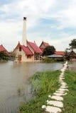 ayutthaya洪水严重泰国 图库摄影