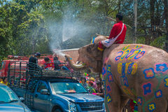 AYUTTHAYA, ΤΑΪΛΑΝΔΗ - 14 ΑΠΡΙΛΊΟΥ: Το Revelers απολαμβάνει το ράντισμα νερού με τους ελέφαντες κατά τη διάρκεια του φεστιβάλ Song Στοκ φωτογραφία με δικαίωμα ελεύθερης χρήσης