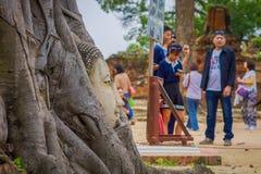 AYUTTHAYA, ΤΑΪΛΑΝΔΗ, 08 ΦΕΒΡΟΥΑΡΙΟΥ, 2018: Κλείστε επάνω της εκλεκτικής εστίασης του κεφαλιού που εισβάλλεται υπαίθρια από το δέν Στοκ φωτογραφία με δικαίωμα ελεύθερης χρήσης