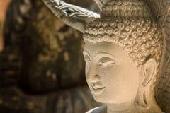Ayutthaya, Ταϊλάνδης - 11 Μαρτίου, 2017: Κλείστε επάνω το πρόσωπο του Βούδα Στοκ Φωτογραφία