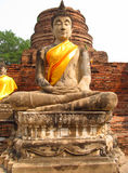 Ayutthaya ancient city ruins in Thailand, Buddha statue stock photo