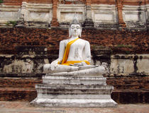Ayutthaya ancient city ruins in Thailand, Buddha statue Royalty Free Stock Images