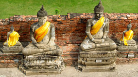 Ayutthaya ancient city ruins in Thailand, Buddha statue Royalty Free Stock Photography