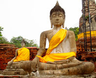 Ayutthaya ancient city ruins in Thailand, Buddha statues Royalty Free Stock Images