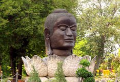 Ayutthaya ancient city ruins in Thailand, statue stock photo