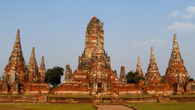 Ayutthaya ancient temple ruins stock photo