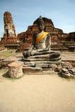 ayutthaya buddah纪念碑废墟 免版税库存照片