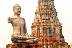 Ayutthaya buddha and temple, isolated. One of many buddhas at a temple complex in Ayutthaya, Bangkok, Thailand Royalty Free Stock Photos