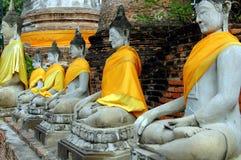 ayutthaya buddhas泰国wat亚伊 免版税库存图片