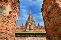 ayutthaya chaiwattanaram历史公园寺庙 免版税库存图片