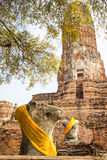 Ayutthaya historical park Buddha statues without head and old Brick Royalty Free Stock Image