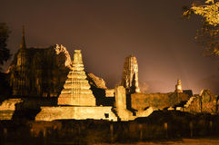 Ayutthaya Historical Park by night Royalty Free Stock Images