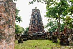 Ayutthaya landskap, Thailand på Augusti 21,2018: Den forntida Buddhastatyn, En khmer-stil prangs och fördärvar på Wat Mahathat, P Arkivfoto
