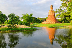 Ayutthaya old temple ruins at sunset (Thailand) Royalty Free Stock Images