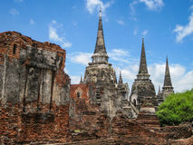 Ayutthaya Ruins of The Old Kingdom. This  city was destroyed by the Burmese army in 1767  The ruins of the old city are preserved in the Ayutthaya historical Stock Photos