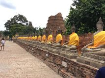 Ayutthaya scluptures of Buddha. Ancient temple in Ayutthaya Thailand with scluptures of Buddha sitting in the row Royalty Free Stock Image