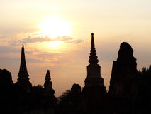 Ayutthaya silhouette. Silhouette of ancient temples in ayutthaya thailand stock images