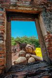 Ayutthaya site, Sleep Buddha at Wat Phutthaisawan temple, Ayutay. A Province ,Thailand Royalty Free Stock Photos