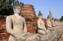 Ayutthaya, Tailândia: Fileira de Buddhas em Wat tailandês Imagens de Stock Royalty Free