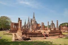 AYUTTHAYA, TAILÂNDIA - 25 de dezembro de 2018: O phrasrisanphet de Wat é o lugar histórico famoso de Tailândia fotografia de stock royalty free