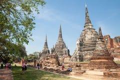 AYUTTHAYA, TAILÂNDIA - 25 de dezembro de 2018: O phrasrisanphet de Wat é o lugar histórico famoso de Tailândia Três Pagodas foto de stock