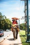 AYUTTHAYA, TAILANDIA - 2 de enero: Turistas en un paseo del elefante a Imagenes de archivo