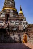 AYUTTHAYA TAILANDIA - SEP14,2017: paso que camina pag viejo del monje tailandés Imágenes de archivo libres de regalías
