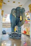 AYUTTHAYA, TAJLANDIA, LUTY, 08, 2018: Salowy widok drylujący słoń wśrodku budynku w Dziejowym parku Zdjęcie Stock