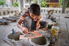 Ayutthaya Tajlandia, Październik, -, 21, 2016: Niezidentyfikowana imię praca Zdjęcie Royalty Free