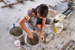 Ayutthaya Tajlandia, Październik, -, 21, 2016: Niezidentyfikowana imię praca Fotografia Royalty Free