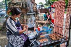 Ayutthaya Tajlandia, Październik, -, 21, 2016: Niezidentyfikowany Tajlandzki woma Fotografia Stock