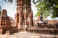Ayutthaya temple ruins, Wat Maha That Ayutthaya as a world heritage site, Thailand. Stock Photo