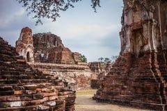 Ayutthaya temple ruins, Wat Maha That Ayutthaya as a world heritage site, Thailand. Royalty Free Stock Photos