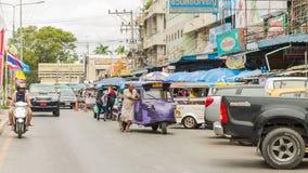 Ayutthaya Thaïlande, driv automatique de taxi de tuk-tuk de three-weeler de pousse-pousse Photographie stock libre de droits