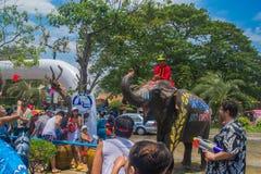 AYUTTHAYA THAILAND - APRIL 14: Rumlare tycker om vatten som plaskar med elefanter under den Songkran festivalen på April 14, 2016 Fotografering för Bildbyråer