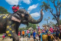 AYUTTHAYA THAILAND - APRIL 14: Rumlare tycker om vatten som plaskar med elefanter under den Songkran festivalen på April 14, 2016 Arkivfoto